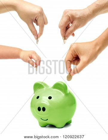 Grandmother, father, mother, and baby in the family do green saving money in a green piggy bank / Family go green saving concept
