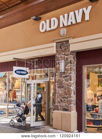 MONTREAL CANADA - MARCH 6 2016 - Old Navy outlet in Premium Outlets Montreal. The Premium Outlets is the second Premium Outlet Center in Canada located in Mirabel Quebec.