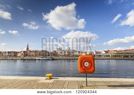 View Of Szczecin, City By The Odra River, Poland