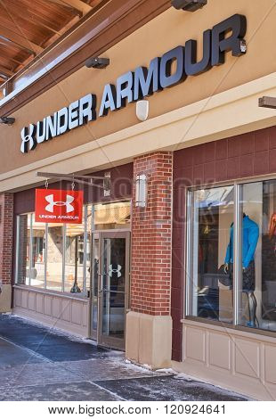 MONTREAL CANADA - MARCH 6 2016 - Under Armour outlet in Premium Outlets Montreal. The Premium Outlets is the second Premium Outlet Center in Canada located in Mirabel Quebec.
