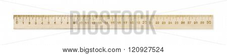 Wooden ruler isolated on white background.