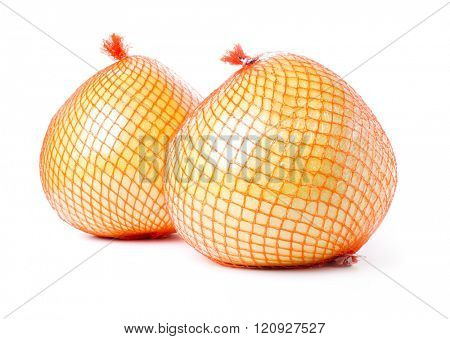 Two pomelos fruit packed isolated on white background.