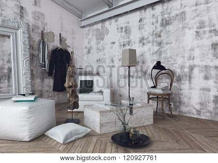 Cushions, lamps and sofa cushions on herringbone pattern wooden floor in room with unfinished white walls. 3d Rendering.