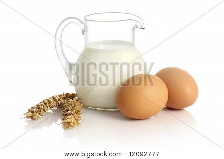 Fresh Milk, Wheat Seeds And Two Eggs