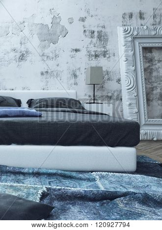 Rumpled blue carpet in front of full size bed next to little lamp and over sized picture frame in room. 3d Rendering.