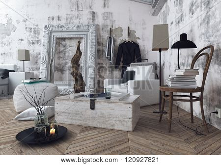Stylish 3D render of large picture frame in room with unfinished walls and books stacked on old wooden chair over wooden floor. 3d Rendering.