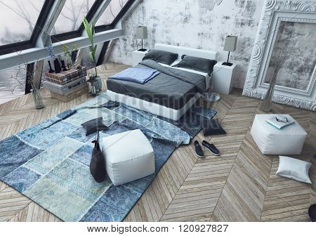 Top down view of messy modern bedroom with beautiful slanted windows and wooden floor littered with shoes, bags and pillows on floor. 3d Rendering.