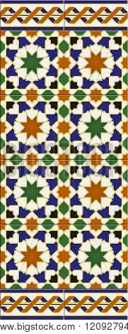 Arabic Tiles Seamless Horizontal Pattern