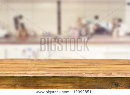 Empty old wooden table for product display montages