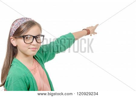 little girl with glasses, pointing her finger,on white background
