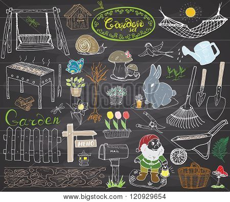 Garden Set Doodles Elements. Hand Drawn Sketch With Gardening Tools, Flovers And Plants, Garden Figu