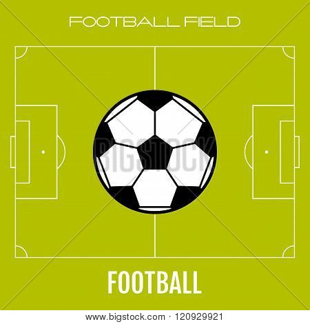 Green soccer field with flat icon ball, football