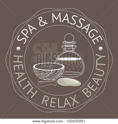 SPA themed vector illustration with pounders, pestle and bottle .