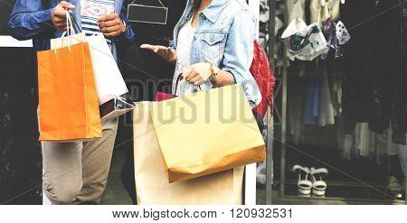 Shopaholic Shopping Commerce Consumer Couple Concept