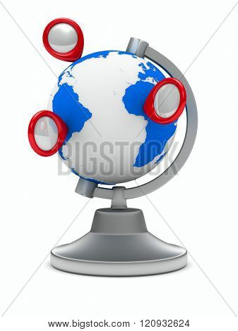 globe on white background. Isolated 3D image