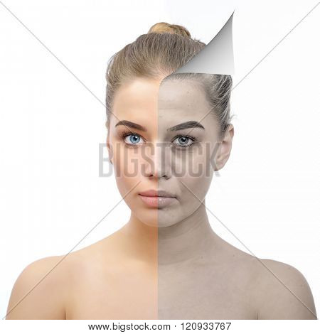 Anti-aging concept. Beautiful woman with problem and clean skin. Aging and youth concept, beauty treatment, cosmetology, lifting. Female face befor and after facial rejuvenation or plastic surgery.