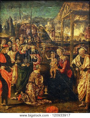 ZAGREB, CROATIA - DECEMBER 08: Amico Aspertini: Adoration of the Magi, Old Masters Collection, Croatian Academy of Sciences, December 08, 2014 in Zagreb, Croatia