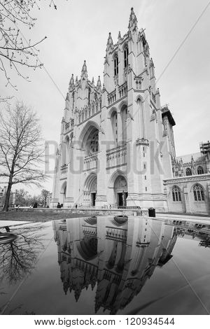 National Cathedral and reflection on a car top - Washington DC USA