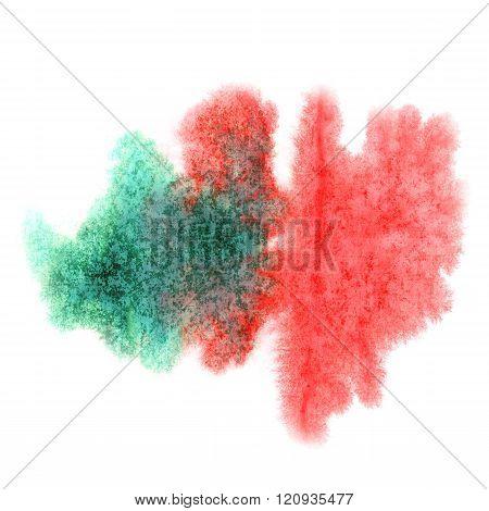 paint splash color red green ink watercolor isolated stroke splatter watercolour aquarel brush