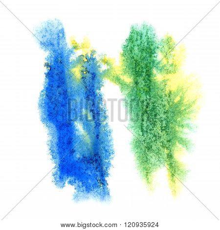 paint splash green blue color ink watercolor isolated stroke splatter watercolour aquarel brush