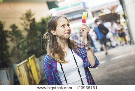 Girl Sightseeing Travel Solo Traveler Concept