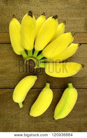 Cultivated Banana (musa Sapientum Linn.) On Natural Wood Background.