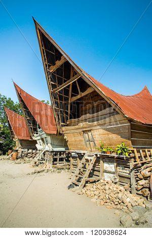 Batak houses on the Samosir island, lake Toba, Indonesia, North Sumatra,