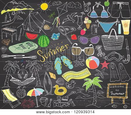 Summer Season Doodles Elements. Hand Drawn Sketch Set With Sun, Umbrella, Sunglasses, Palms And Hamm