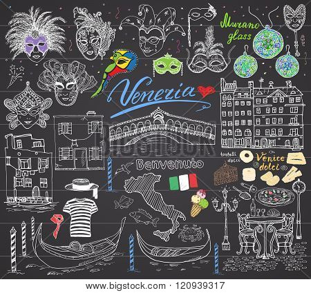 Venice Italy Sketch Elements. Hand Drawn Set With Flag, Map, Gondolas Gondolier Clothe, Houses, Pizz
