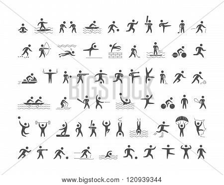 Black Sports Icons Set. Vector Figures Athletes.