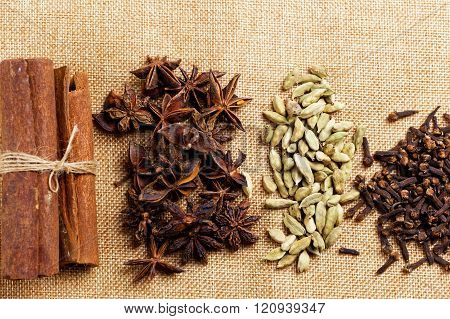 Various seasonings for cooking, Star Anise  Cardamom, Clove, Cinnamon.
