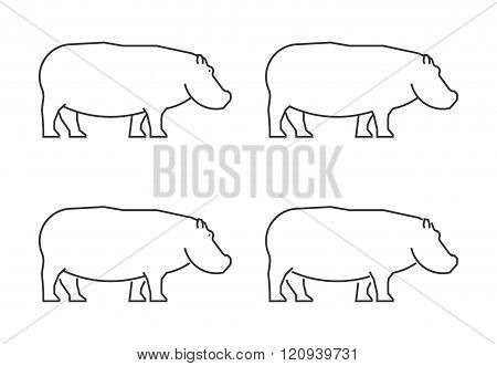 Outline hippo on a white background. Vector silhouette hippopotamus. Modern hippo icon. Linear hippopotamus set.