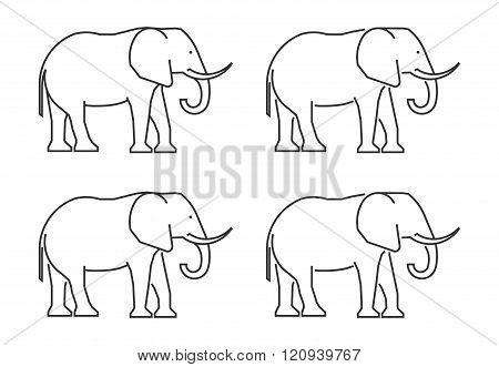 Outline elephant on a white background. Vector silhouette elephant. Modern elephant icon.