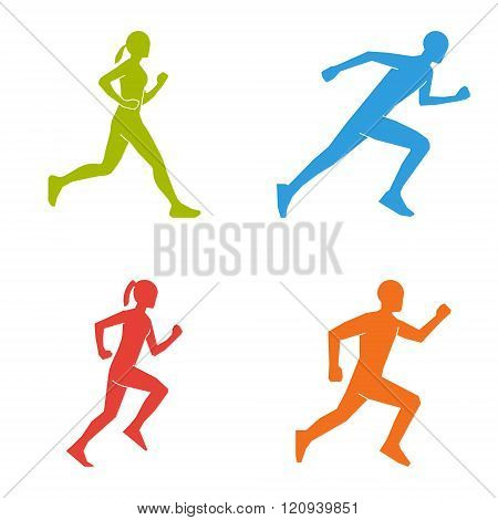 Flat vector silhouettes of runners. Colored figures marathoner. Vector running symbol and logo. Flat shapes runners.