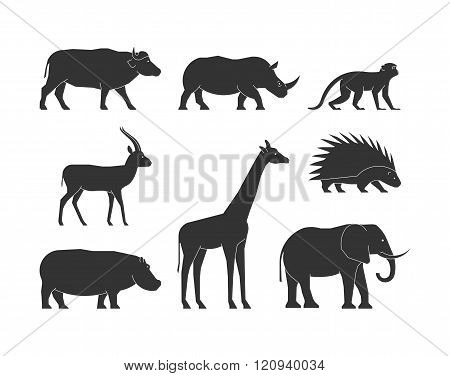 Black Silhouettes African Animals. Vector Figure African Animals
