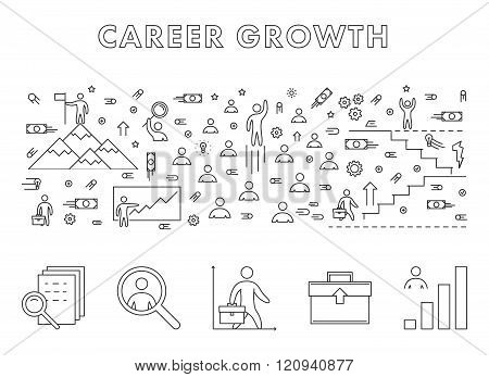 Vector line design concept web banner for career growth. Modern linear horizontal banner for career development. Line creative style concept for web.