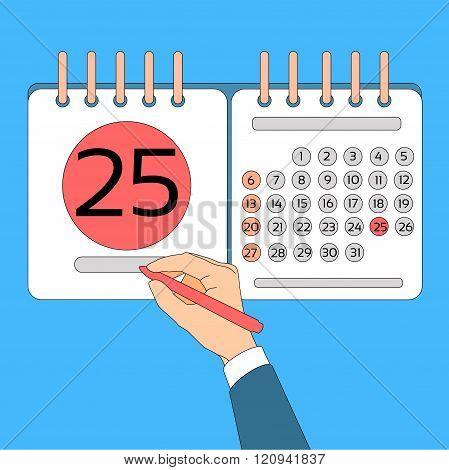 Calendar Hand Hold Pen 25 Last Financial Statements Date