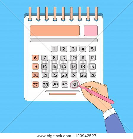 Calendar Hand Draw Pen Red Circle Date Last Day Month Deadline