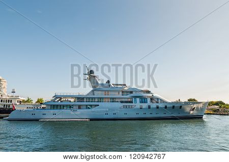 Luxury Motor Mega Yacht Pacific At Waterfront Side In Fort Lauderdale