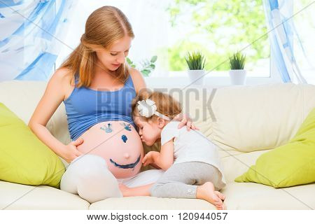 Happy Family In Anticipation Of Baby. Pregnant Mother And Child Daughter Paint Colors On Tummy