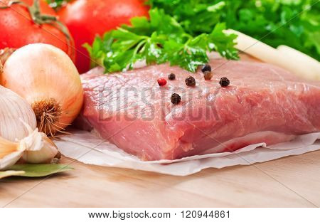 Fresh Raw Meat Tenderloin With Vegetables