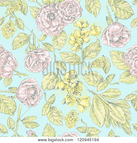 Vintage seamless pattern with pink  roses and jasmine on blue background