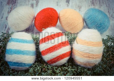 Vintage Photo, Easter Eggs Wrapped Woolen String And Green Cress On Wooden Background, Decoration Fo