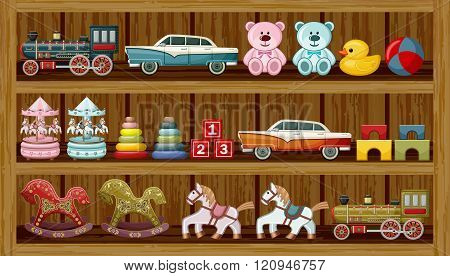 Vintage Toys On The Shelf. Vector