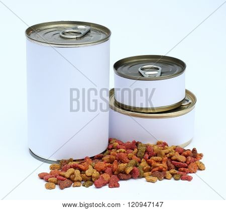 A set of can and dried cats/dogs food with label ready for new graphic design