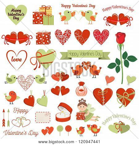 Happy Valentines Day Cards. Symbols And Icons. Vector Illustration