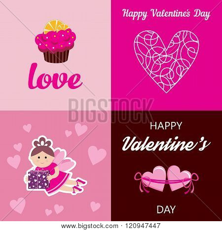 Happy Valentines Day Cards. Vector Illustration