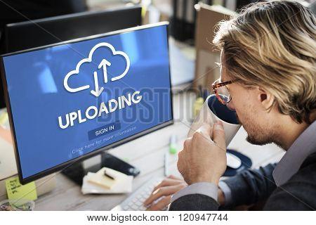 Uploading Upload Data Download Information Concept