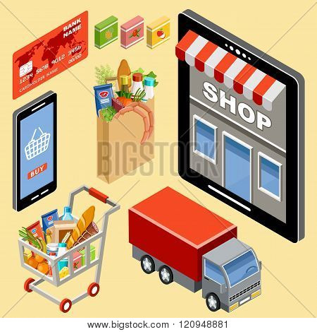 Image of logistics for the online store. Vector illustration