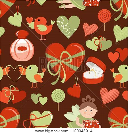 Valentine's Day a vector pattern with hearts